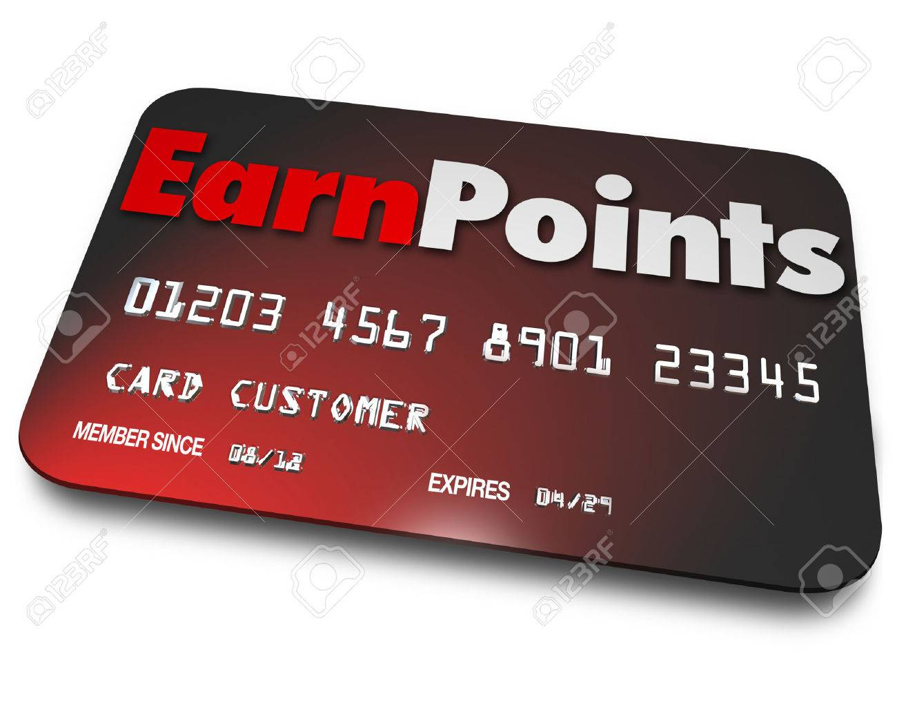 Earn Points words on a plastic credit card as the best rewards program for earning bonuses on purchases of goods at stores Stock Photo - 28350522