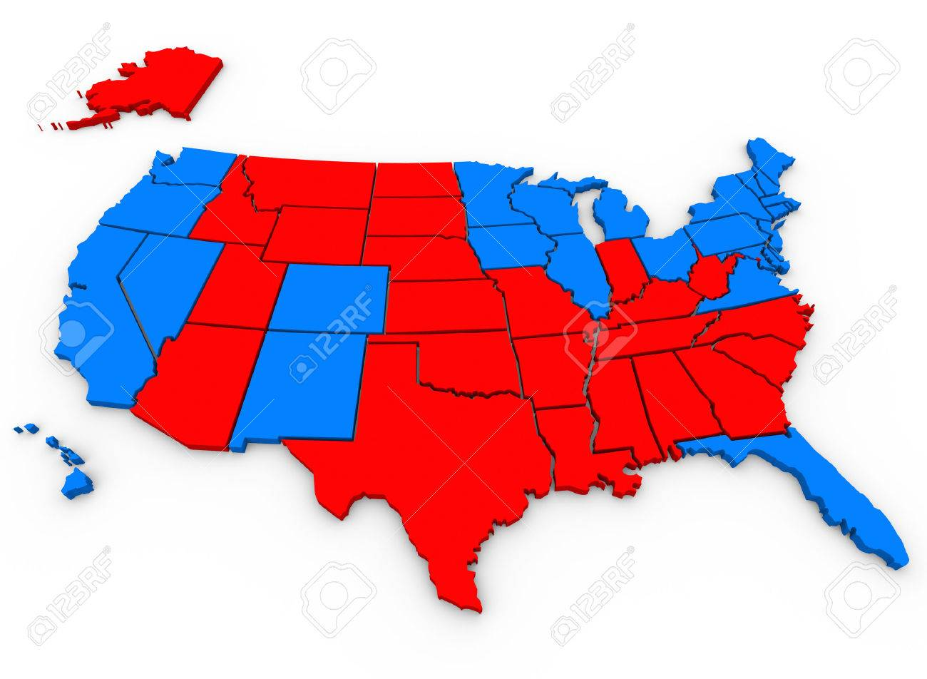 D Rendered Illustrated United States Of America Map Shows The - Map of red and blue states