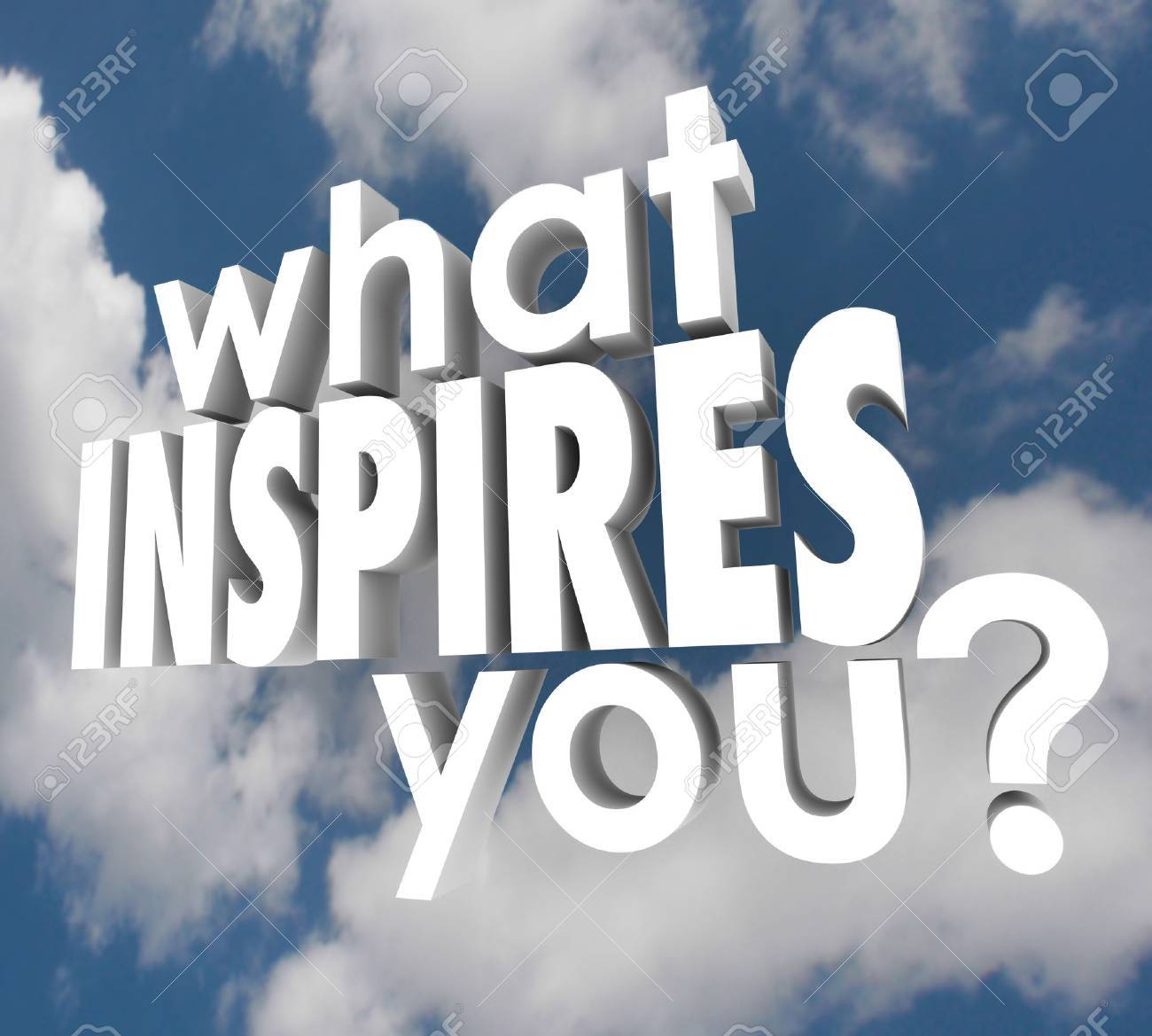 what inspires you words in d letters on a background of clouds stock photo what inspires you words in 3d letters on a background of clouds to ask what motivates you to think creatively use your imagination and