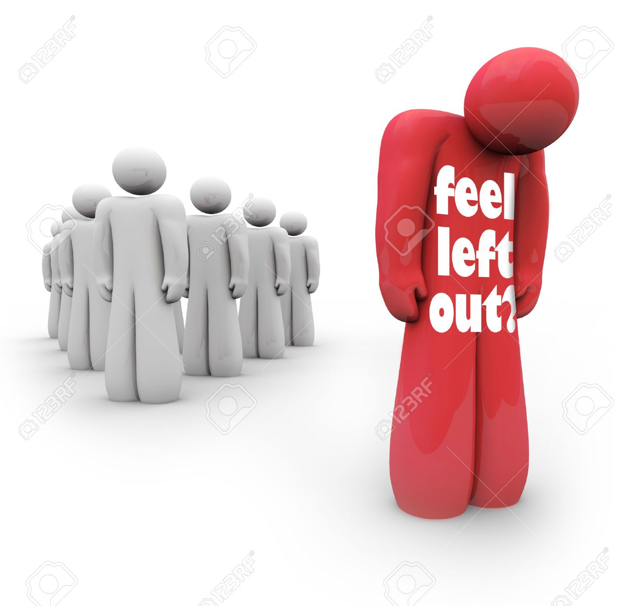 Feel Left Out words on a person isolated from the group, alone and depressed for being unpopular Stock Photo - 28490629