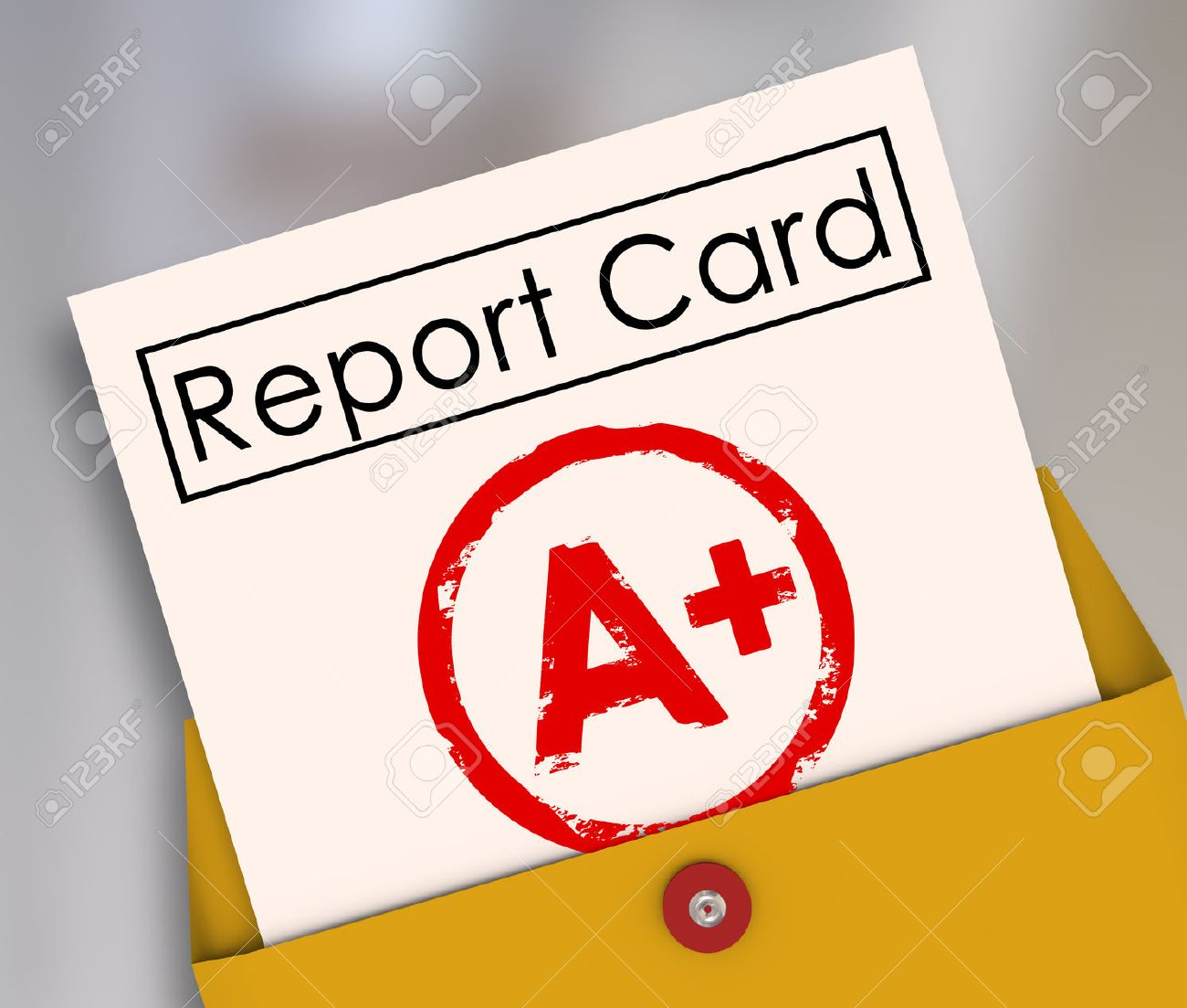 good grades stock photos images royalty good grades images good grades report card a or plus stamped on it in a yellow envelope