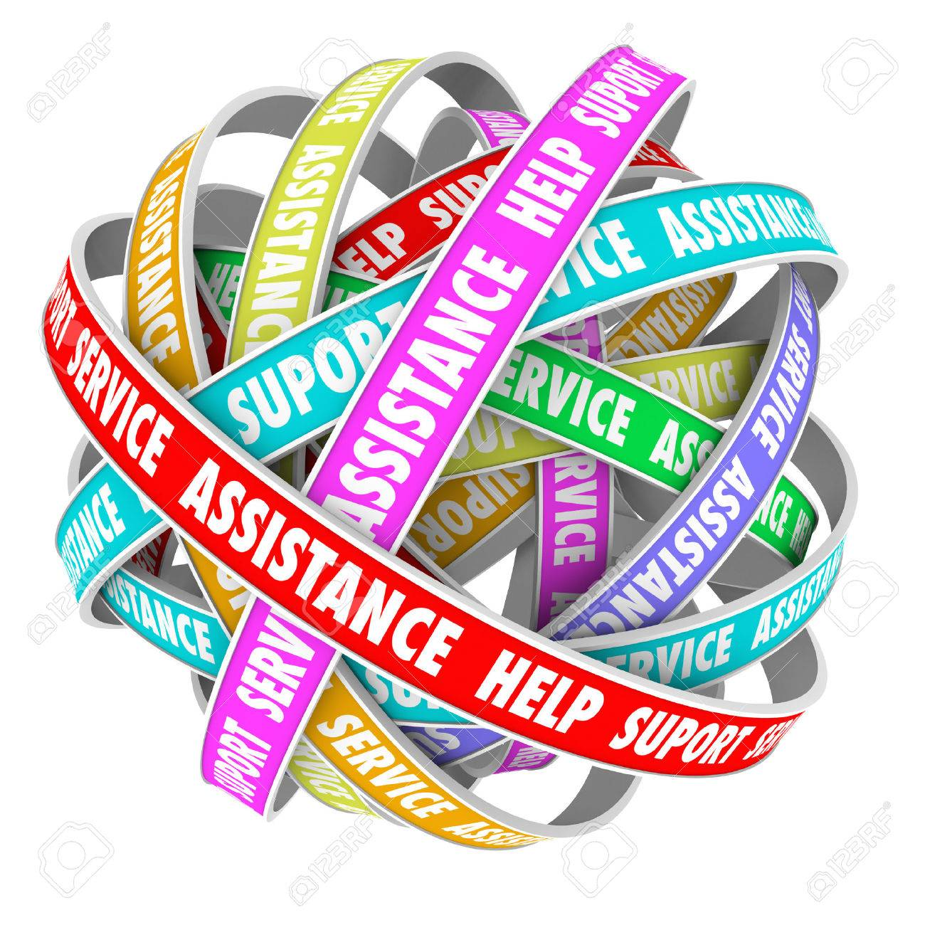 Support, Assistance, Help and Support words on an endless cycle of ribbons or roads in a 3d pattern - 29194066