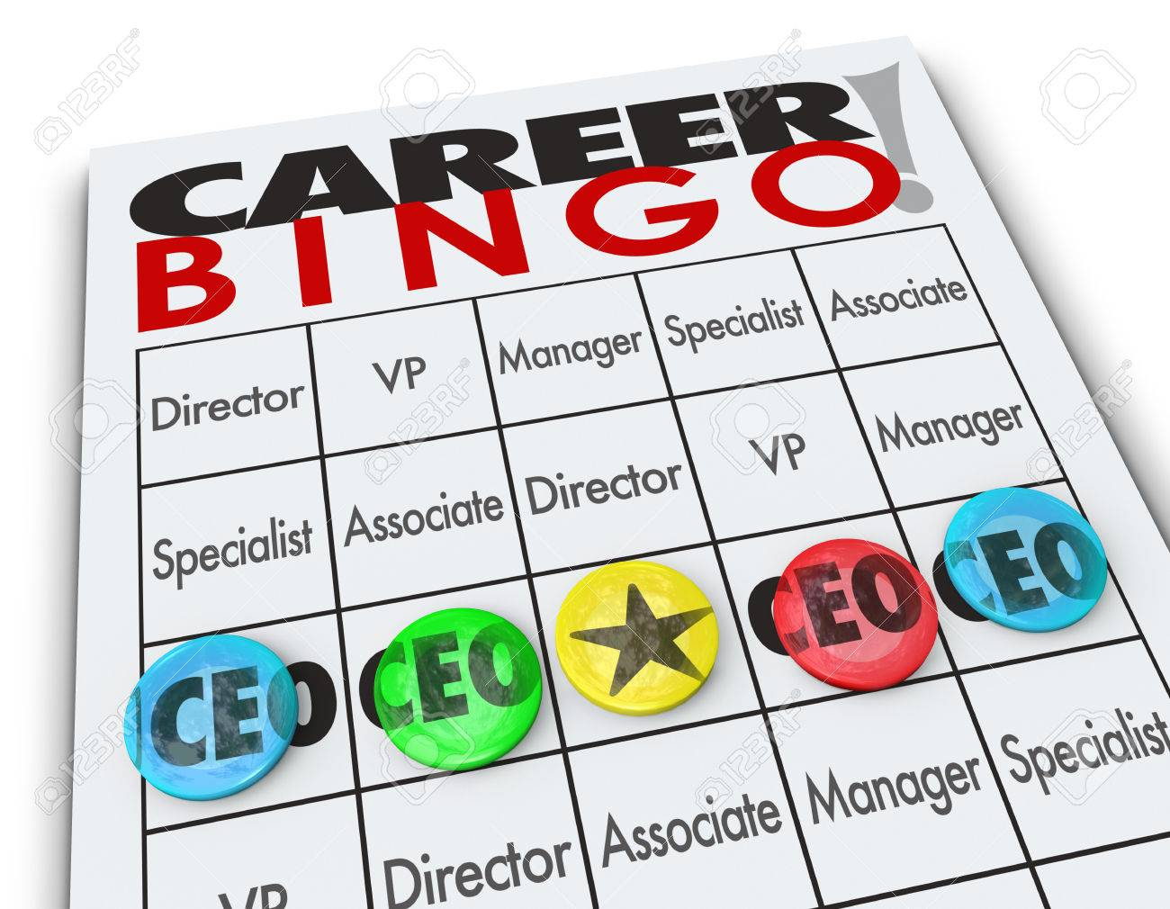 CEO Or Chief Executive Officer Word On A Career Bingo Card Or ...