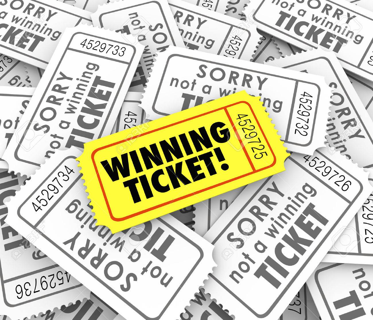 One winning ticket on pile of losing entries in lottery or raffle