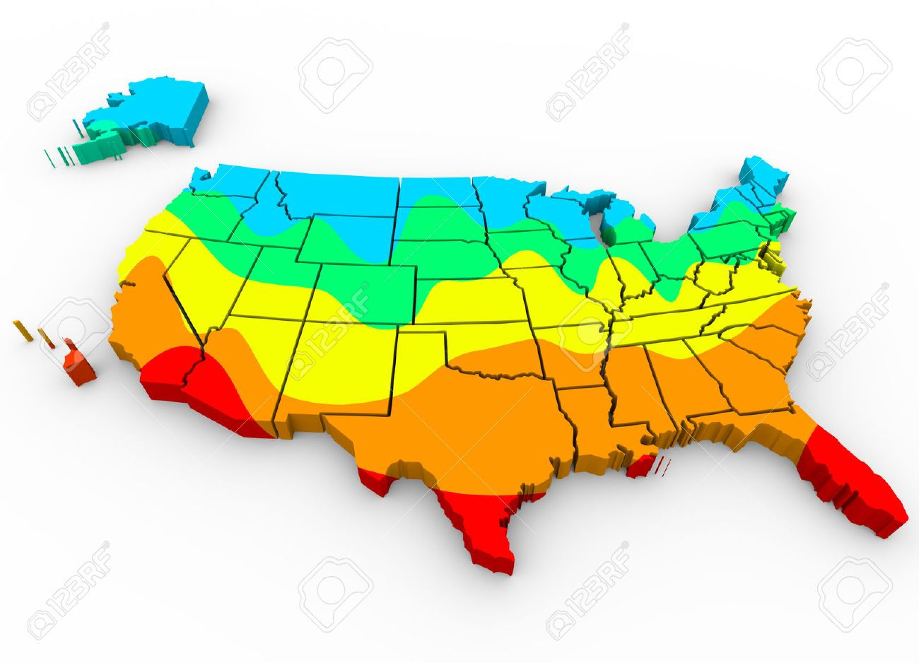 A Map Of The United States Of America With Regions Color Coded ...