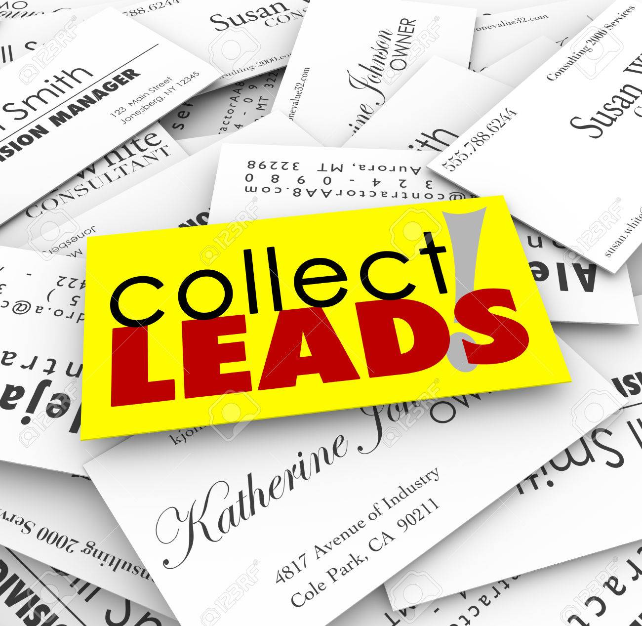 Collect Leads Words On A Pile Of Business Cards From New Customers ...