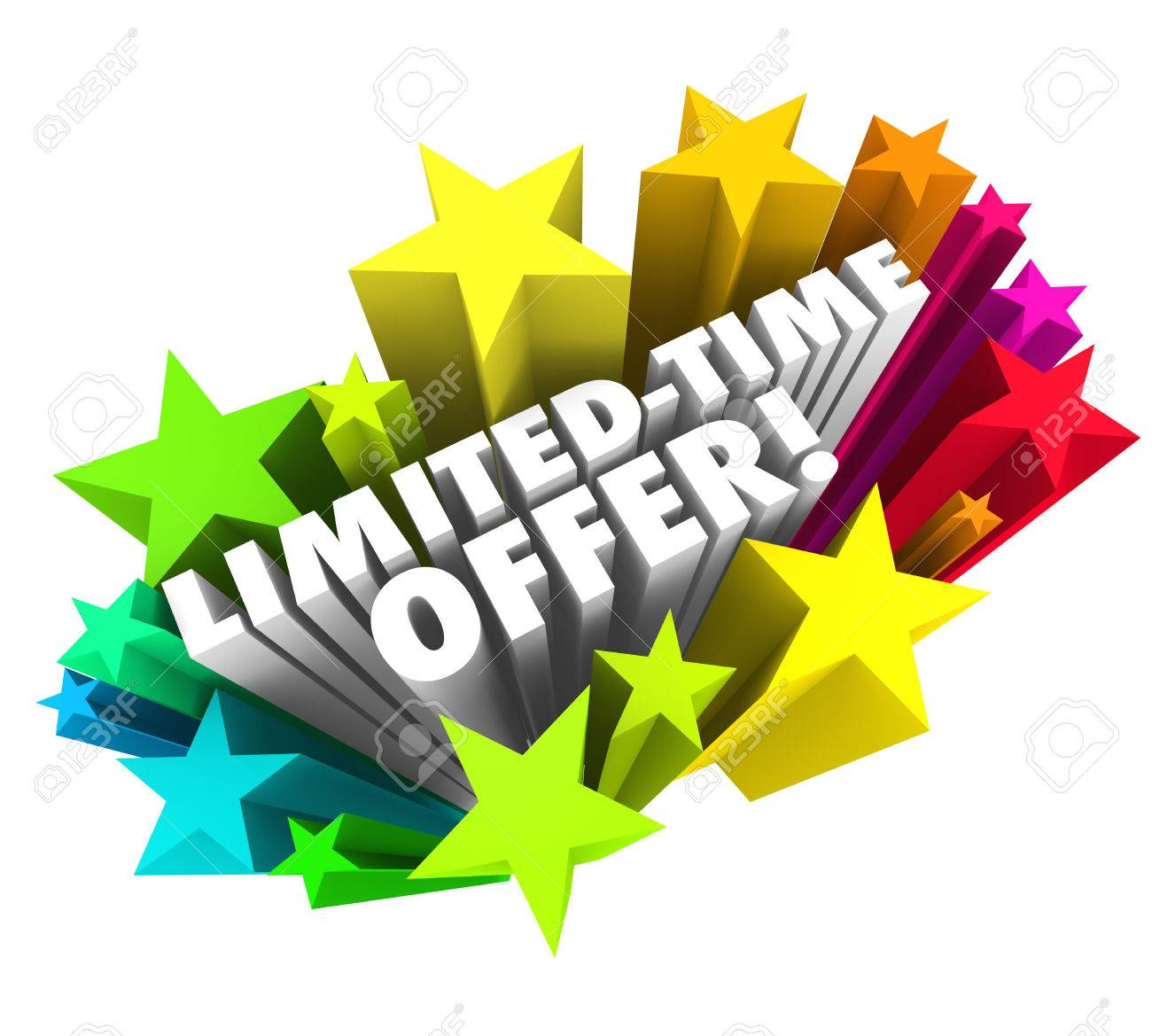4ee03fa14 Limited Time Offer words in 3d white letters surrounded by colorful stars  advertising a special savings