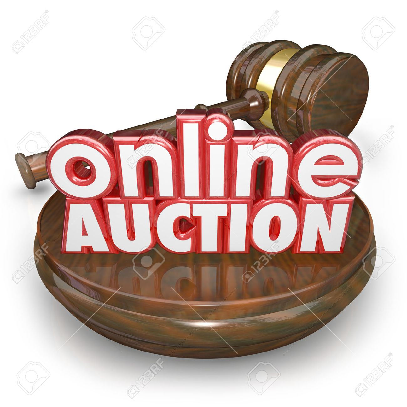 online auction 3d words on a wood block with a gavel closing the bidding on an