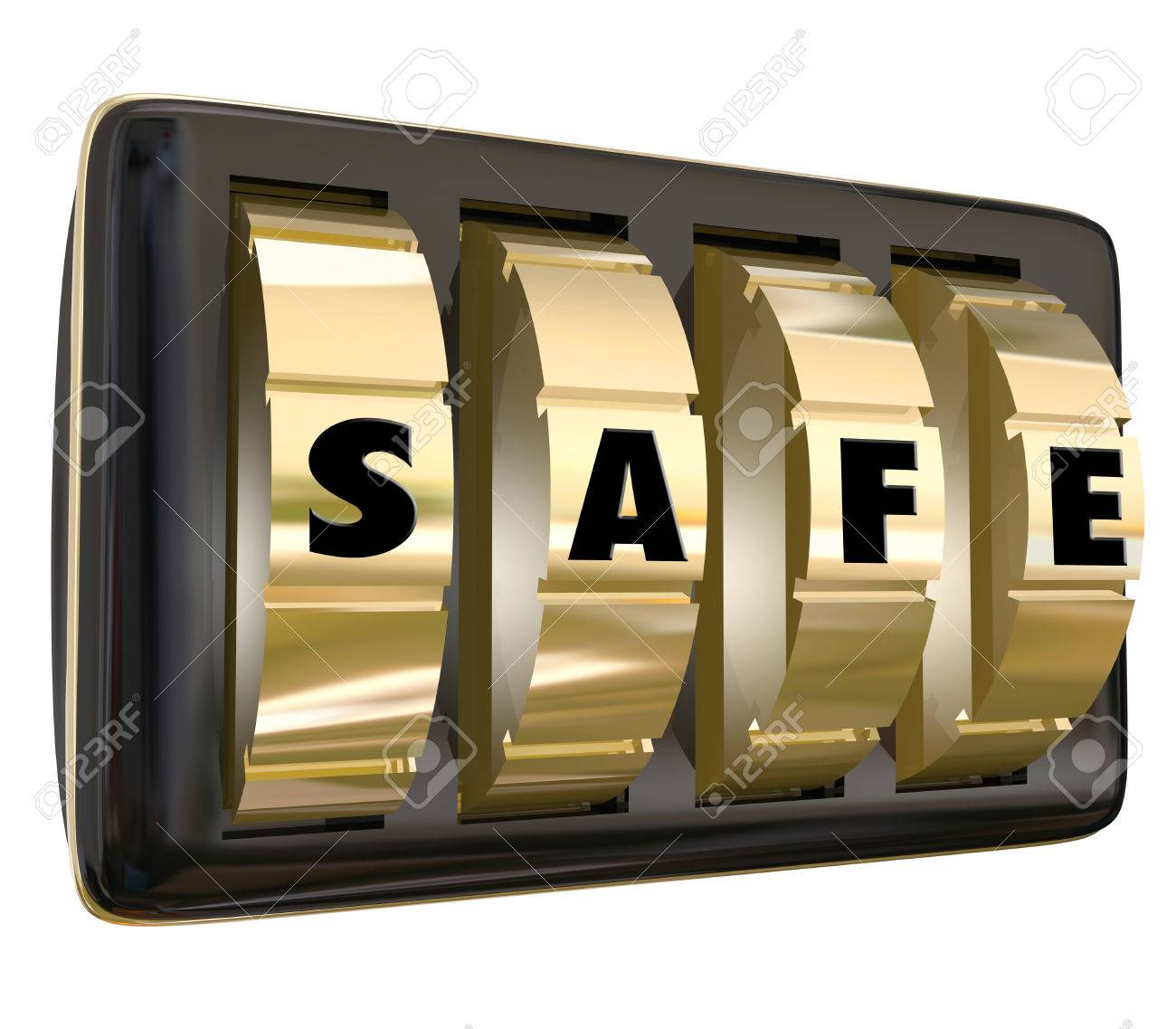 Safe word on gold dials of a lock to keep your information, documents or  valuables