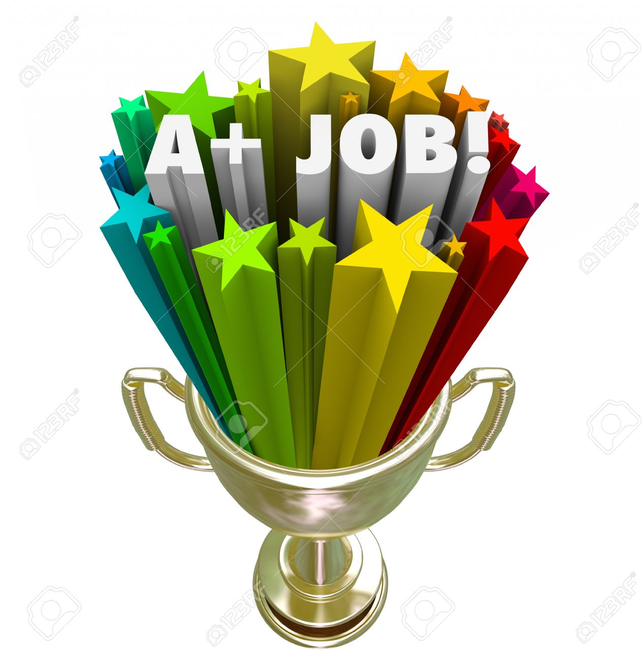 a plus job words in 3d letters in a gold trophy award for best a plus job words in 3d letters in a gold trophy award for best or top