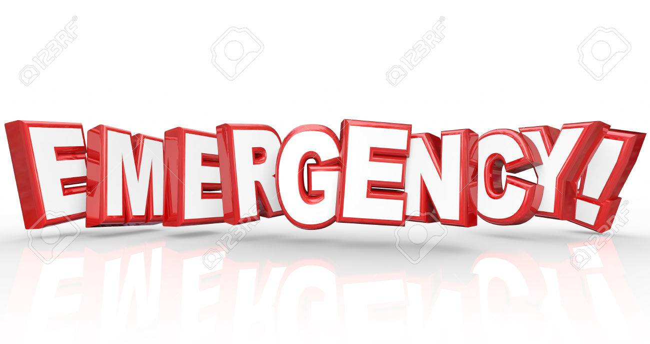 Emergency 3d Words Red Letters Big Crisis Stock Photo, Picture And ...