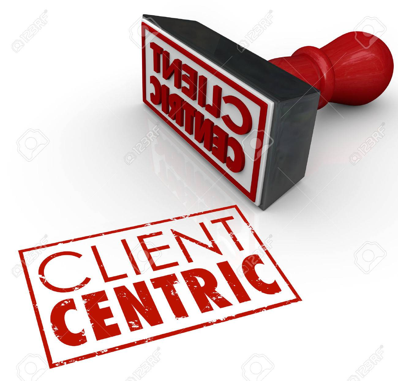 client centric words stamped in red ink certifying a company stock