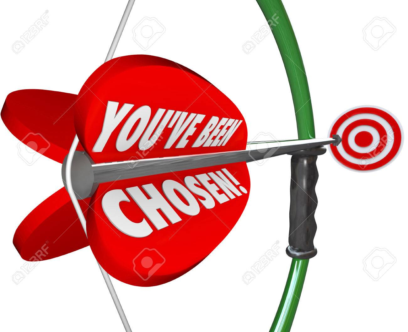 you ve been chosen words on a 3d bow and arrow aiming at the stock photo you ve been chosen words on a 3d bow and arrow aiming at the selected target in a game or competition choosing best candidate for prize or job