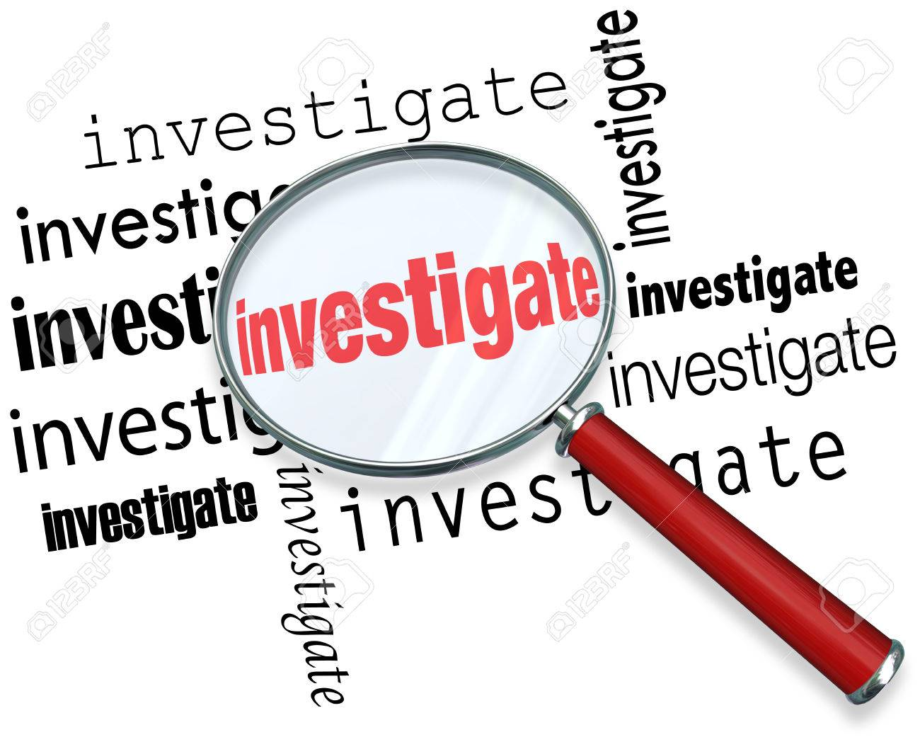 researching stock photos images royalty researching images researching magnfiying glass on the word investigate to illustrate detective or police work researching facts