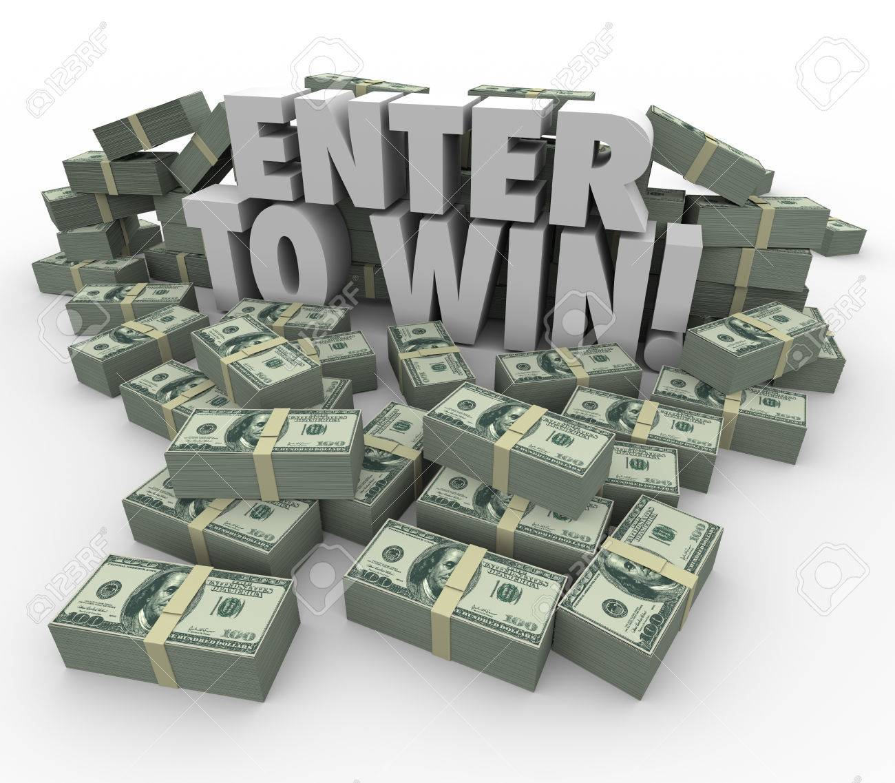 Enter to Win words in 3d letters surrounded by money, cash or..