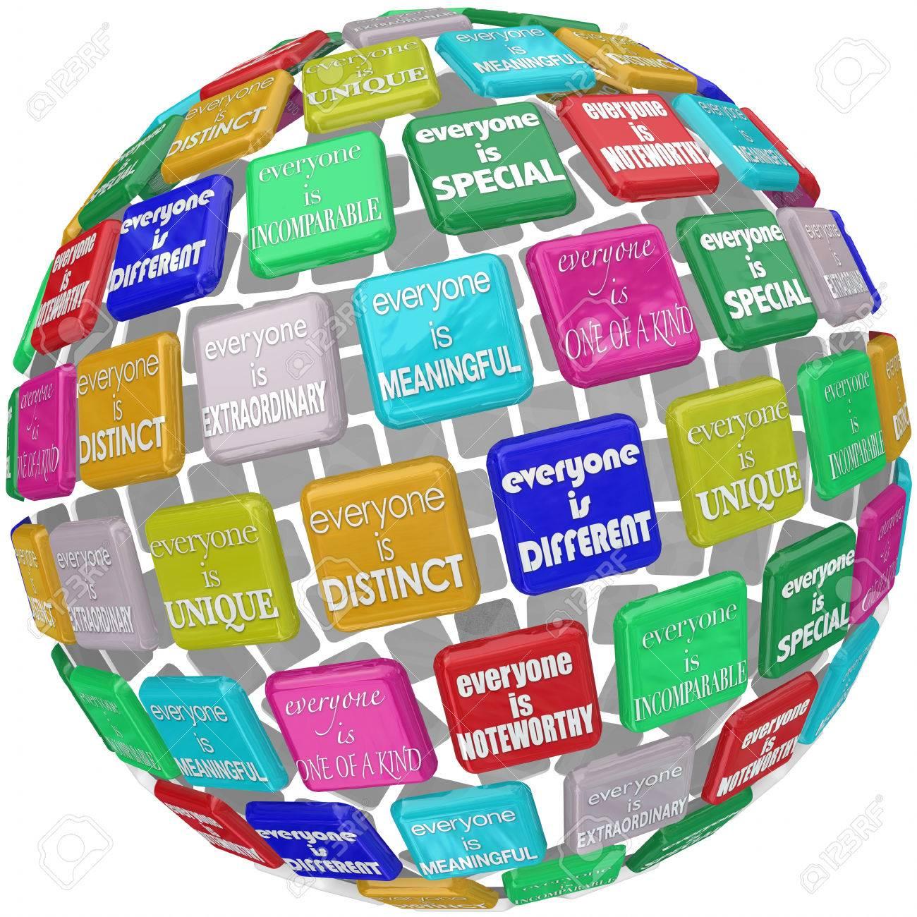 Iedereen Is Uniek Buitengewoon Verschillend Speciaal Incomprable Anders En één Van Een Vriendelijke Woorden Over Titels In Een 3d Wereld Of Sfeer