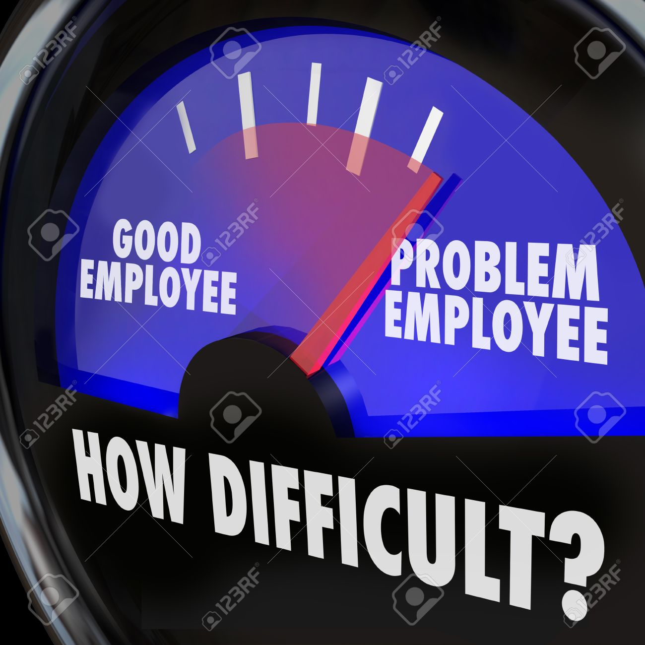 problem employee vs good worker words on gauge measuring difficult problem employee vs good worker words on gauge measuring difficult people in workplace stock photo