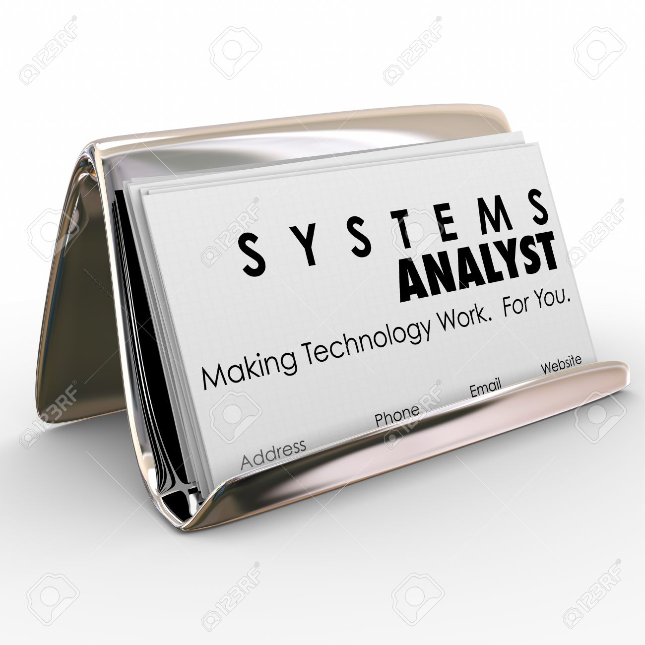 Systems Analyst Words On Business Cards In A Card Holder And.. Stock ...