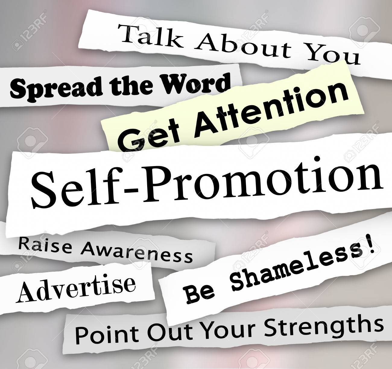 self promotion words and phrases in torn or ripped newspaper self promotion words and phrases in torn or ripped newspaper headlines to illustrate getting marketing