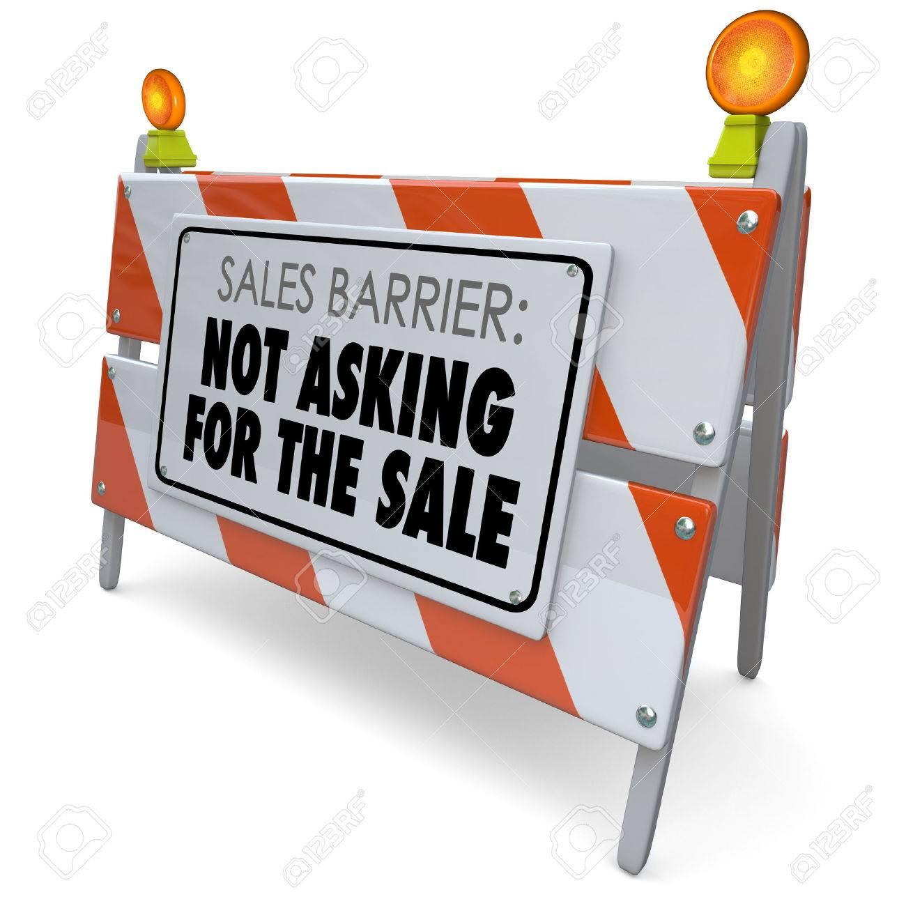 Vertrieb Barrier Nicht Um Den Verkauf Worte Auf Einem Straßenbau ...