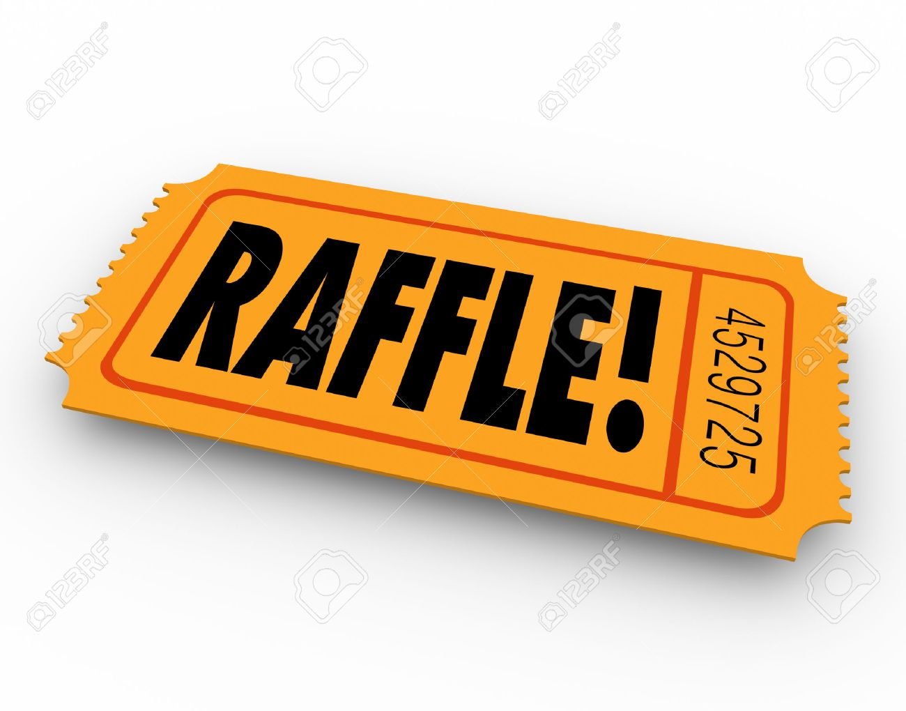 raffle word on orange ticket for you to enter to win a drawing