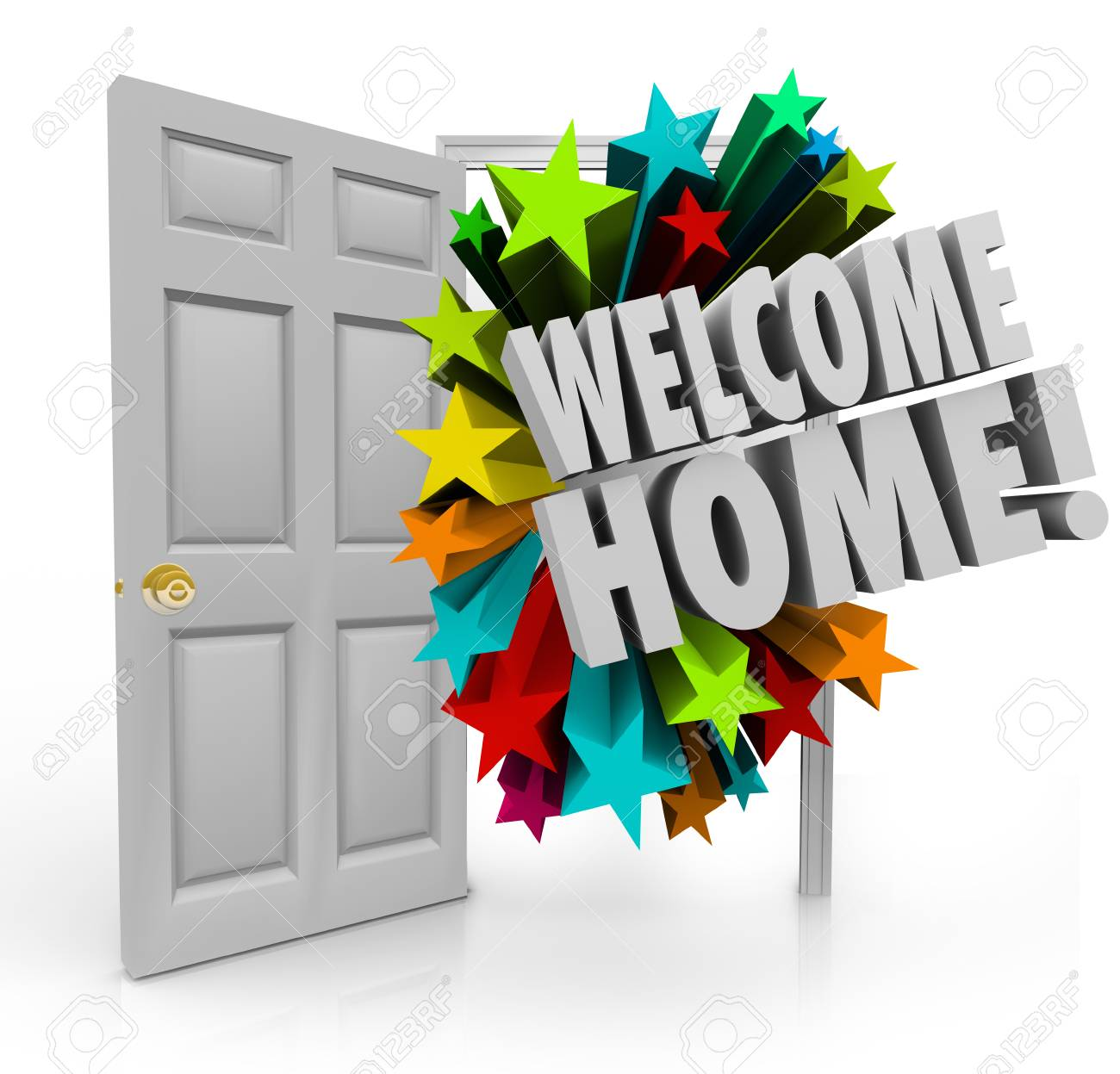 Welcome Home Message In 3d Words Out An Open Door As A Greeting