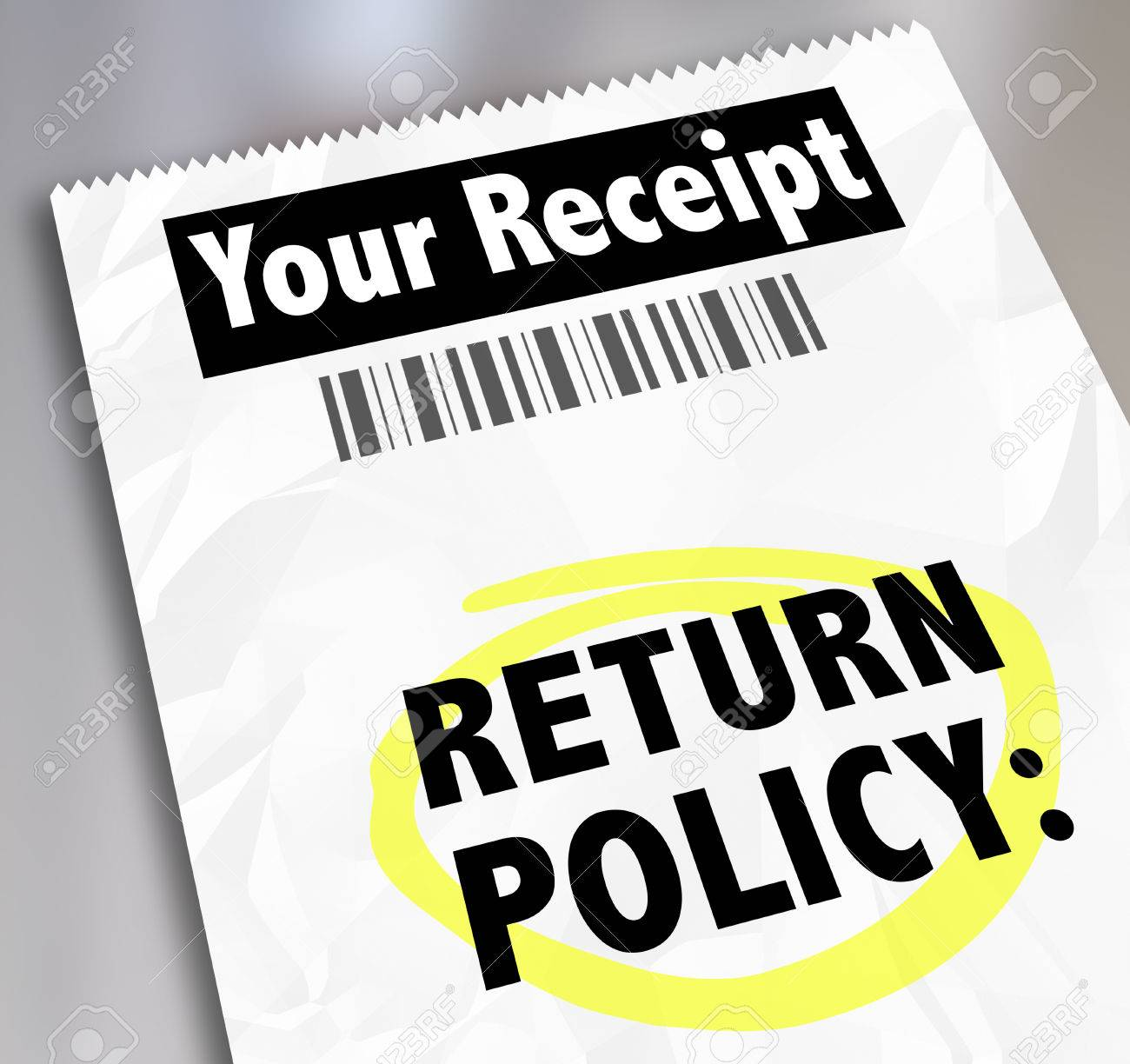 return policy words on a store receipt or proof of purchase to