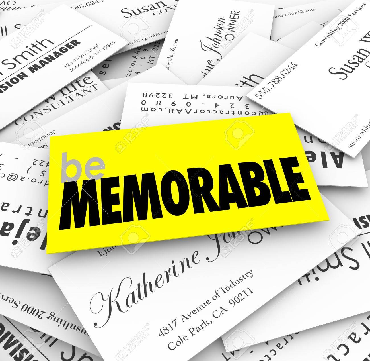 Soyez Mots Memorables Sur Une Carte De Visite Unique Special Ou Different Dans Pile Pour Illustrer La Necessite Se Demarquer Et Rivaliser Avec