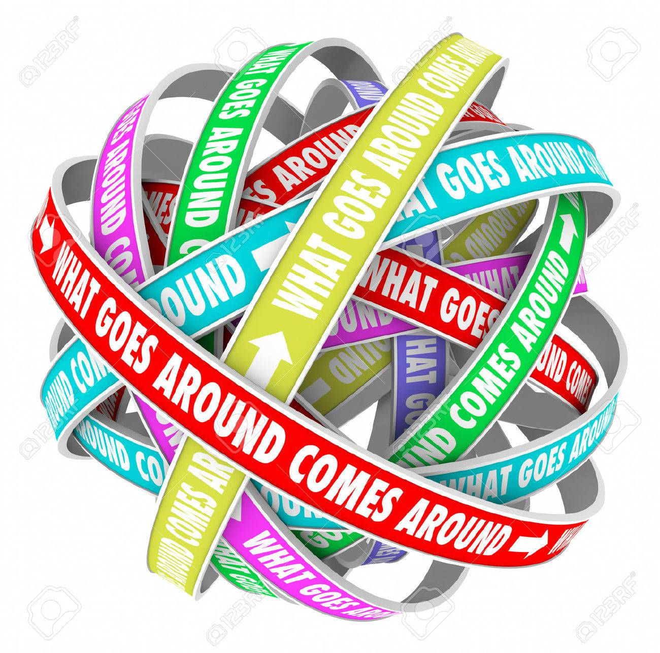 What Goes Around Comes Around Saying Or Quote On Colorful Ribbons