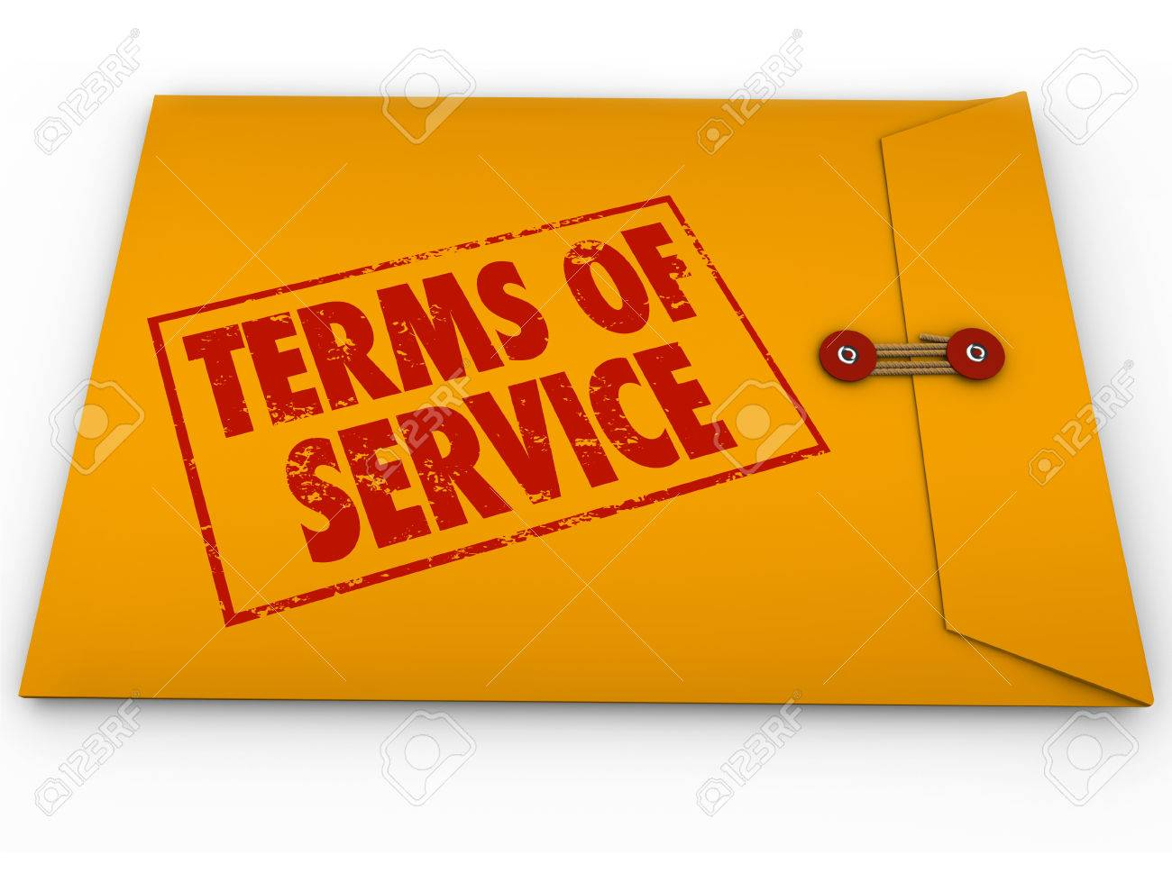 Terms Of Service Words On Stamp On Yellow Envelope To Illustrate – Words of Agreement