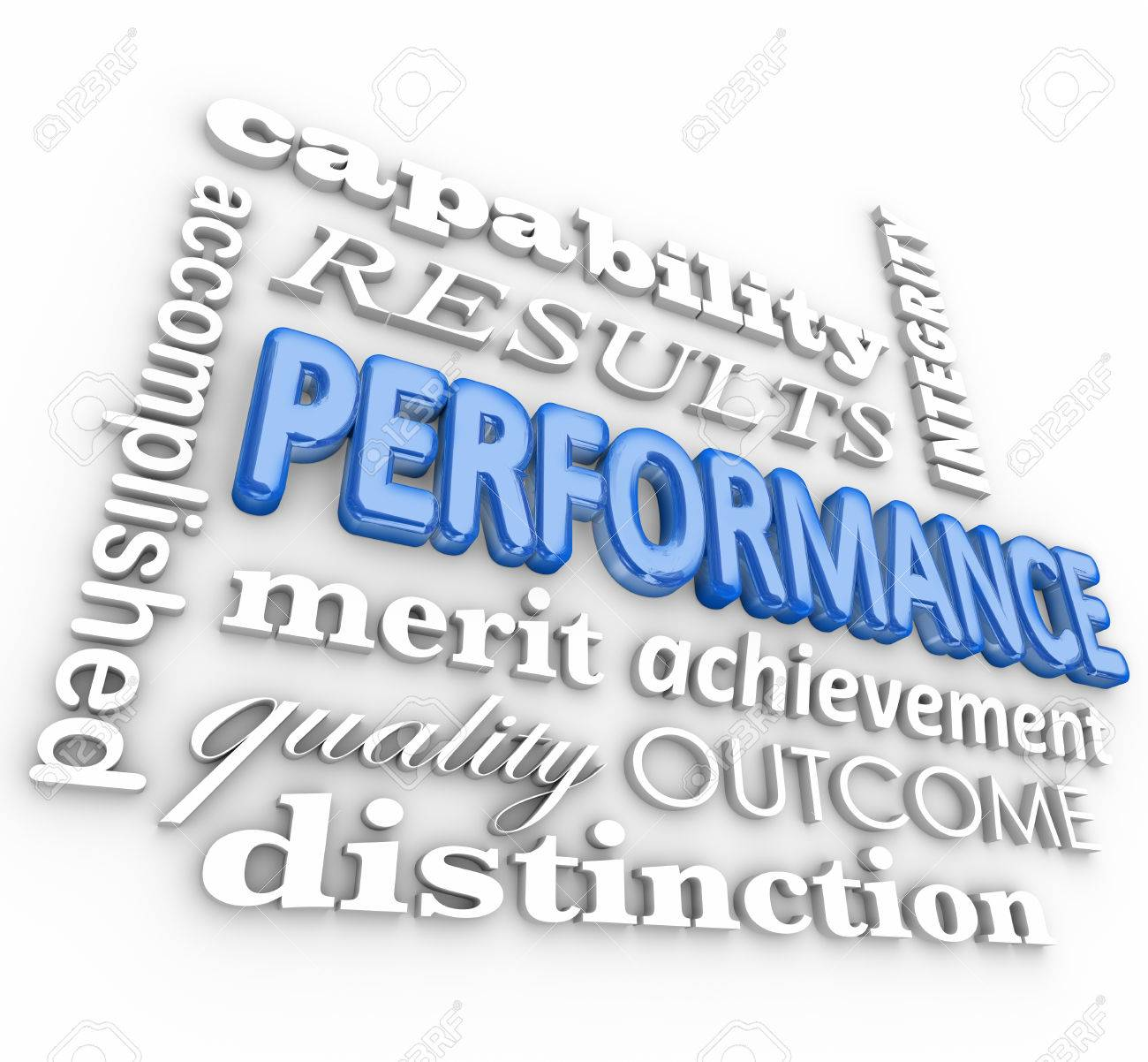 performance word in a d collage including accomplishment merit performance word in a 3d collage including accomplishment merit quality outcome distinction
