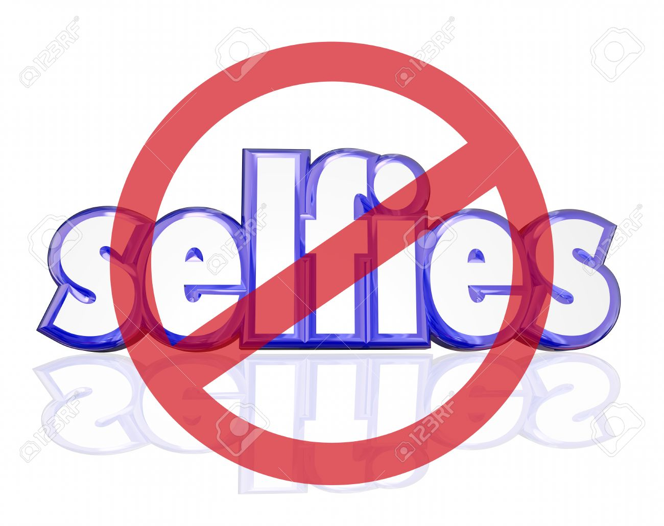 No Selfies Symbol On 3d Letters To Illustrate People Being Annoyed