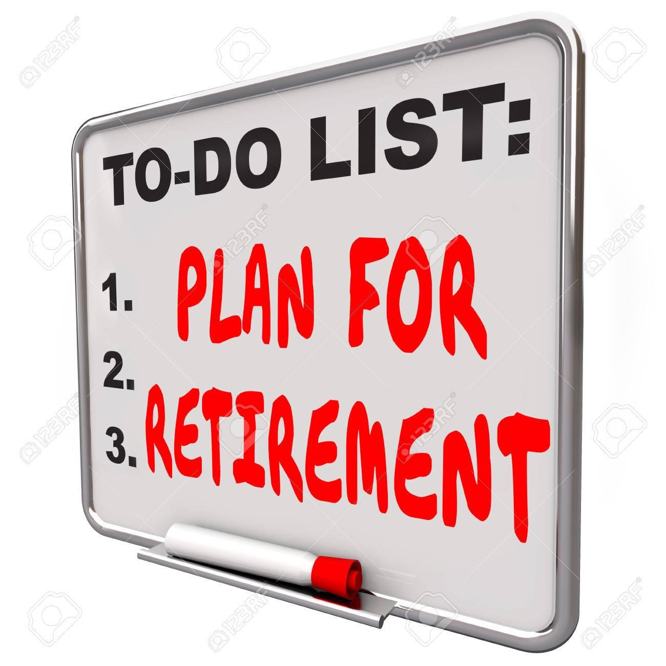 plan your retirement words on a dry erase board to remind you