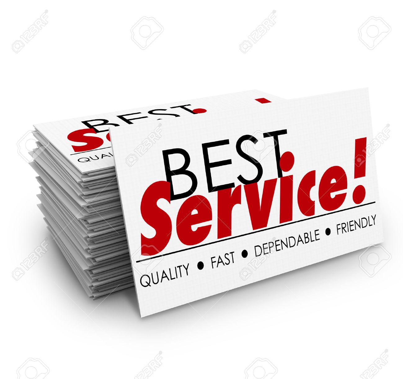 Meilleurs Mots De Service Sur Une Pile Cartes Visite Ou