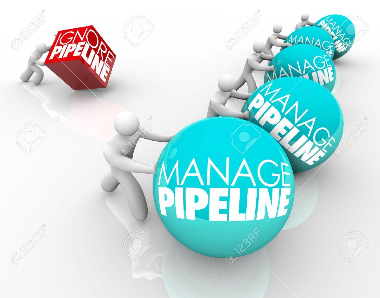 Verwalten Pipeline Worte Auf Kugeln Durch Den Gewinn Geschäftsleute ...