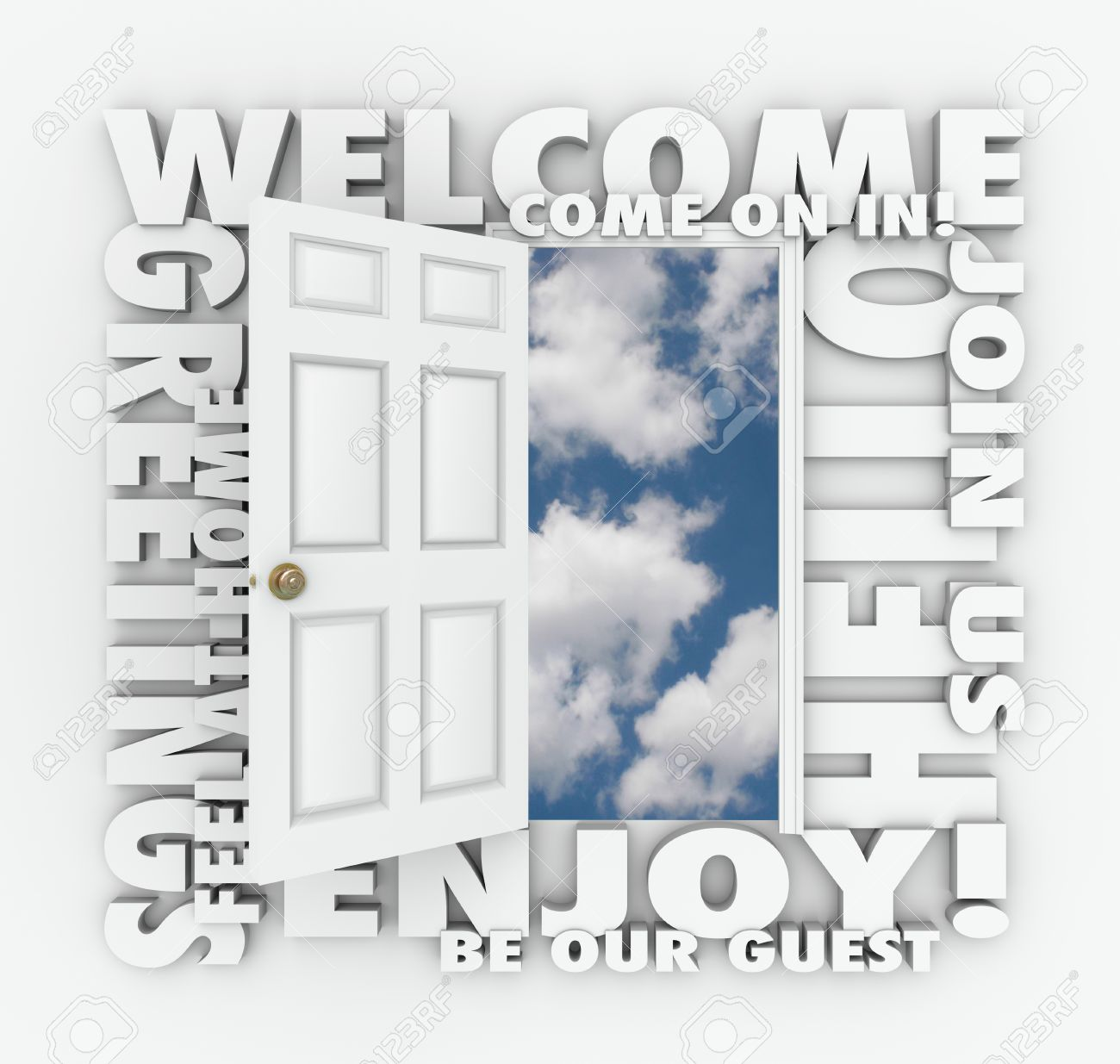 Welcome words around an open door to illustrate concepts like stock photo welcome words around an open door to illustrate concepts like invitation greetings enjoyment guest service friendliness and joining m4hsunfo
