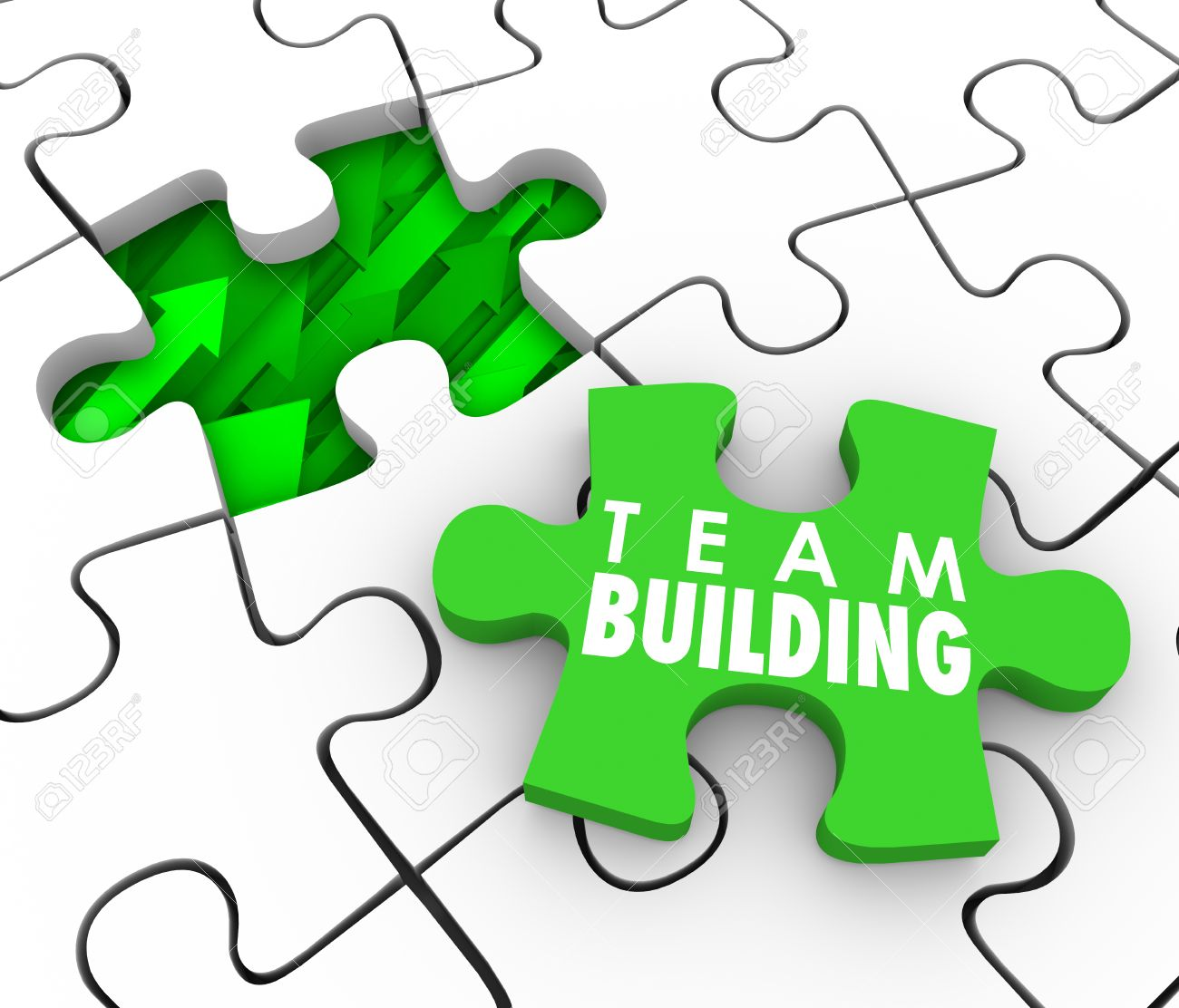 Team Building Words On A Puzzle Piece To Fill A Hole , Business ...