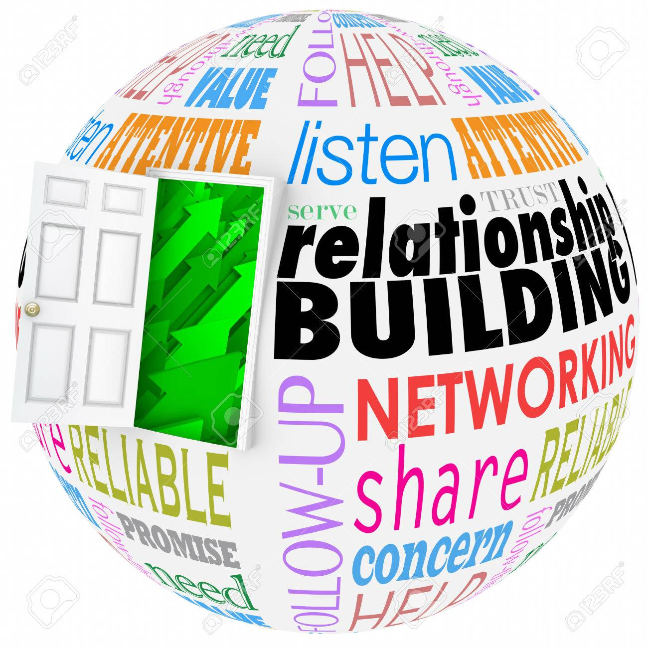 Relationship Building words on a ball or sphere to illustrate networking and meeting new people in job, career, life or organizations - 37956981