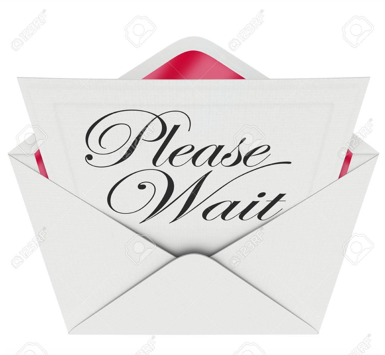 Bitte Warten Worte Auf Eine Einladung In Einen Geöffneten Umschlag ...