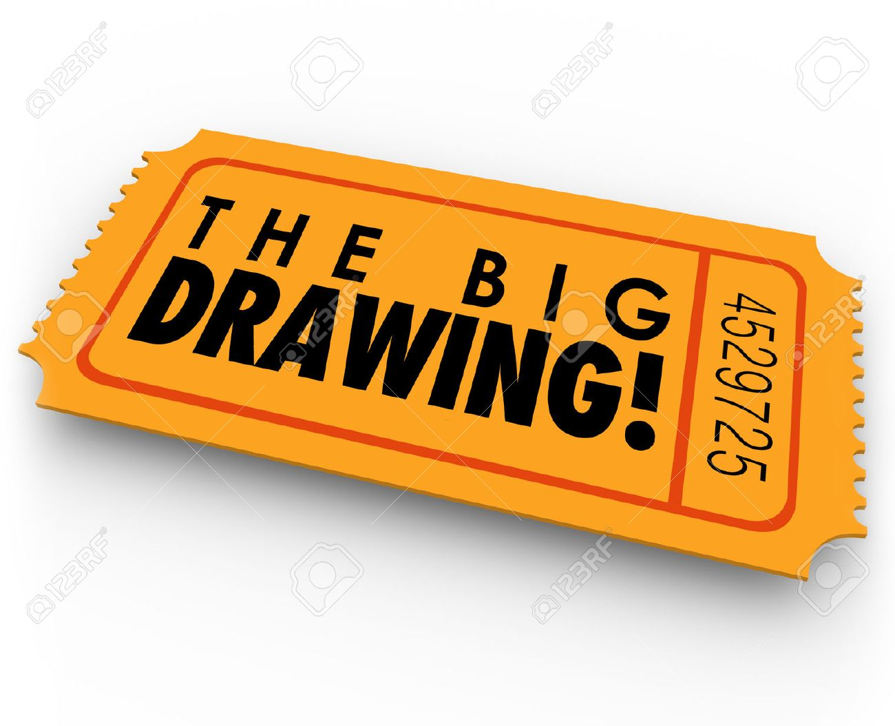 the big drawing words on an orange raffle or contest ticket for