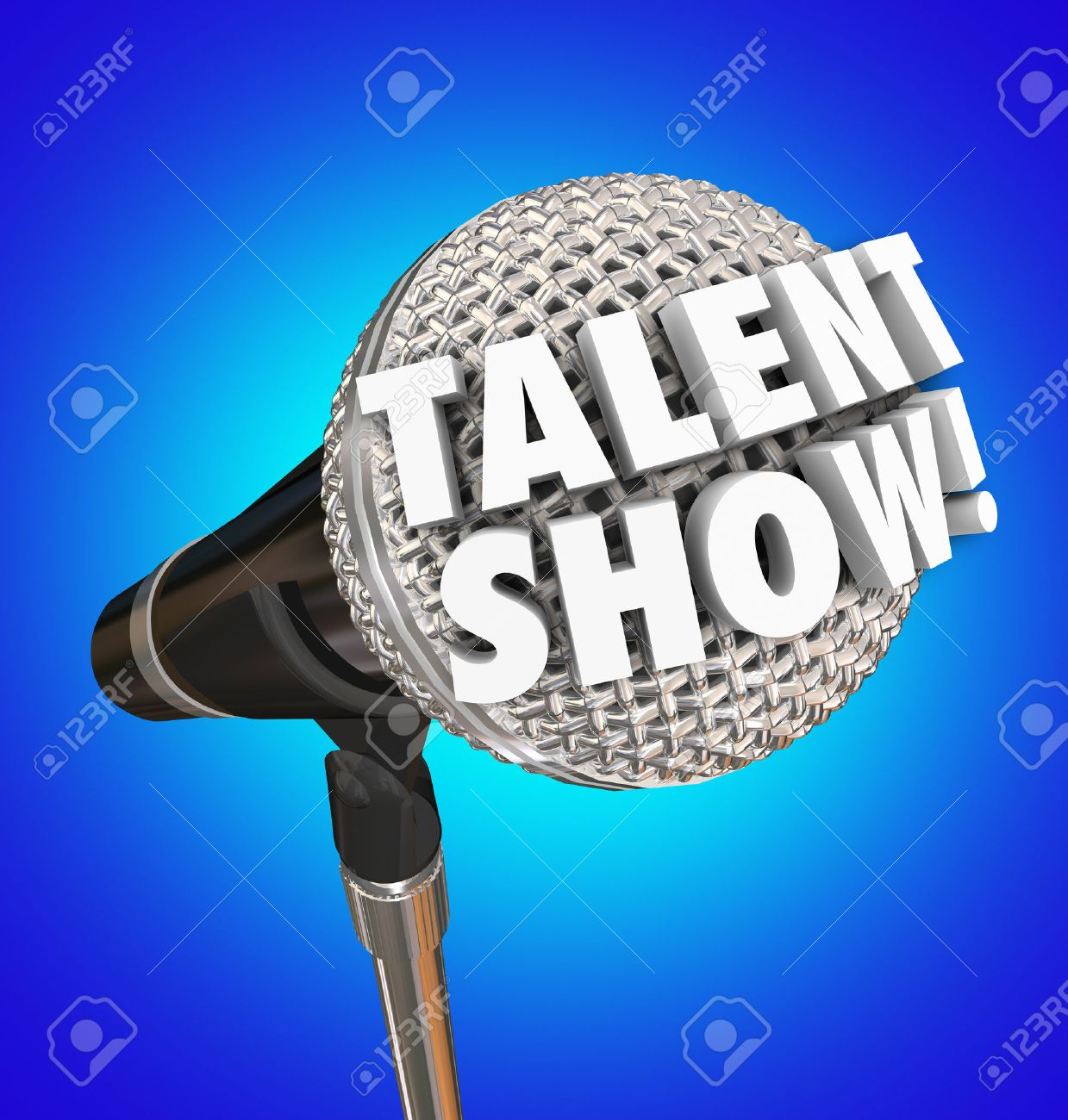 Talent Show Words In 3d Letters A Microphone To Illustrate