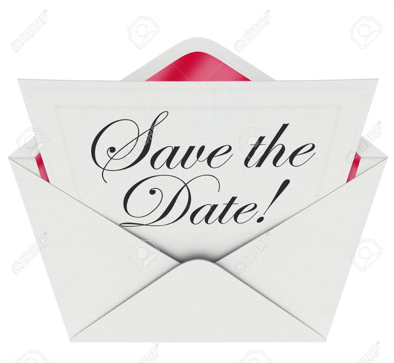 save the date words on an invitation or message note in an open envelope asking you