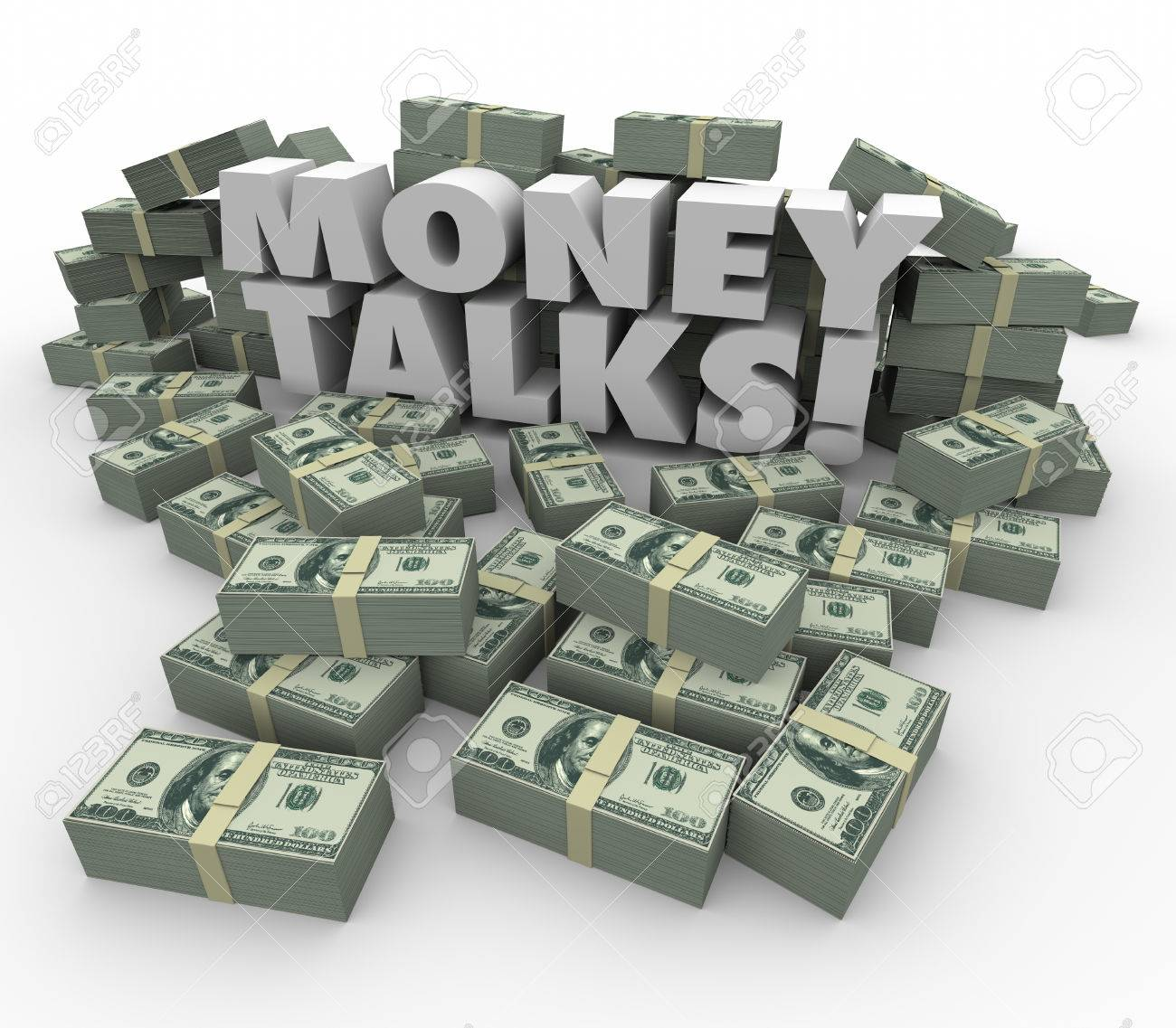 Money Talks Words In White 3d Letters Surrounded By Staks Or.. Stock Photo, Picture And Royalty Free Image. Image 40336564.