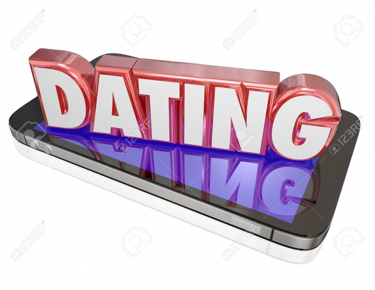 Dating word in red  d letters on a smart or mobile phone to illustrate making a