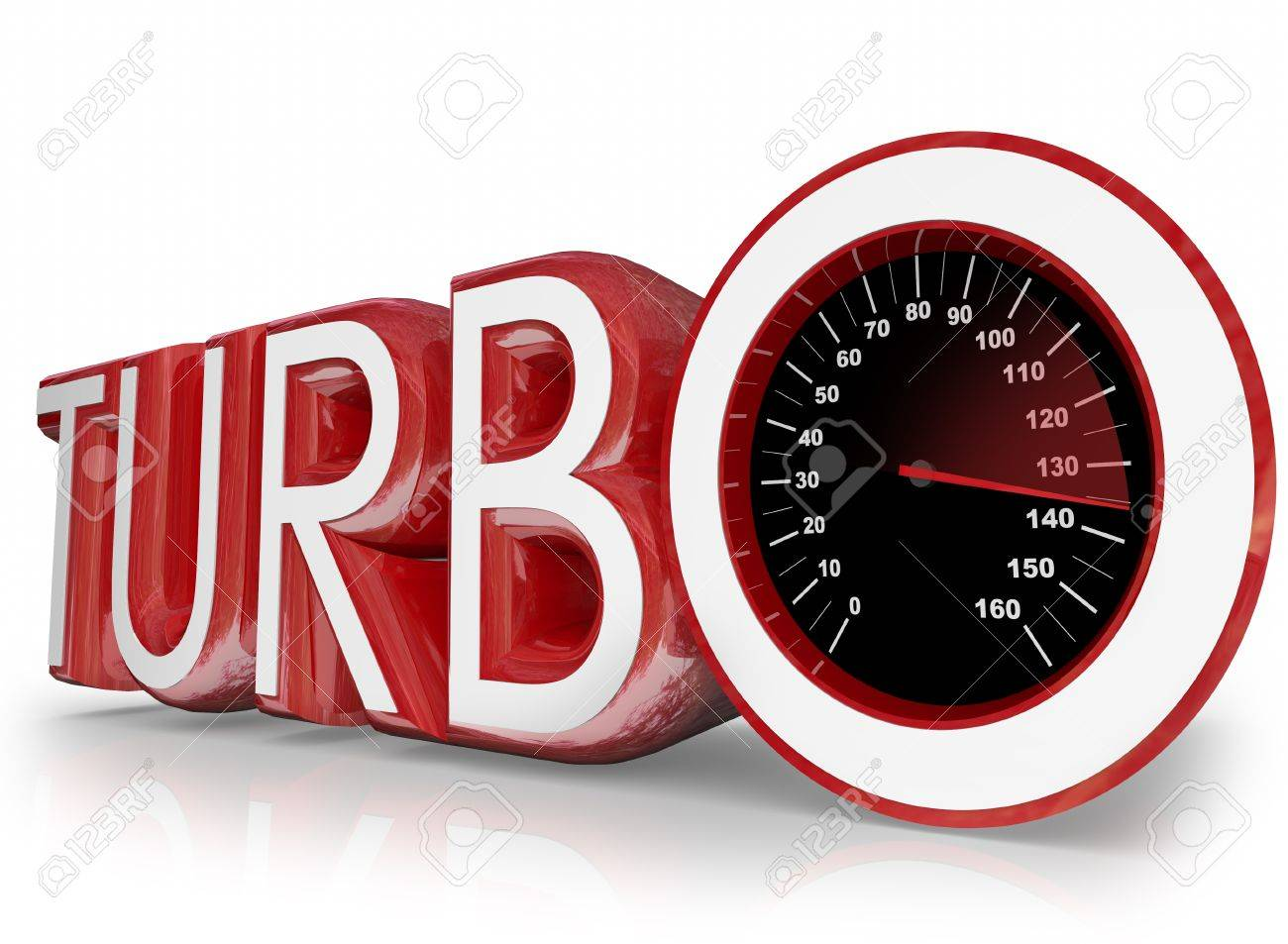 Turbo Word In Red 3d Letters And A Speedometer With Needle Racing ...