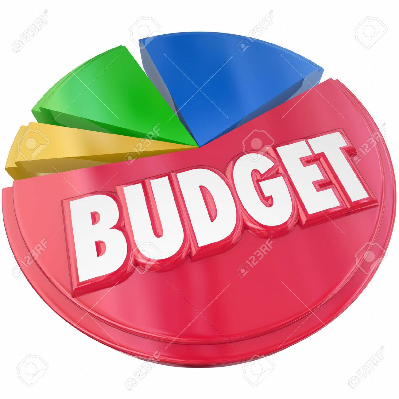 Budget 3d word on a pie chart to illustrate planning your money spending or saving for financial control - 40881744