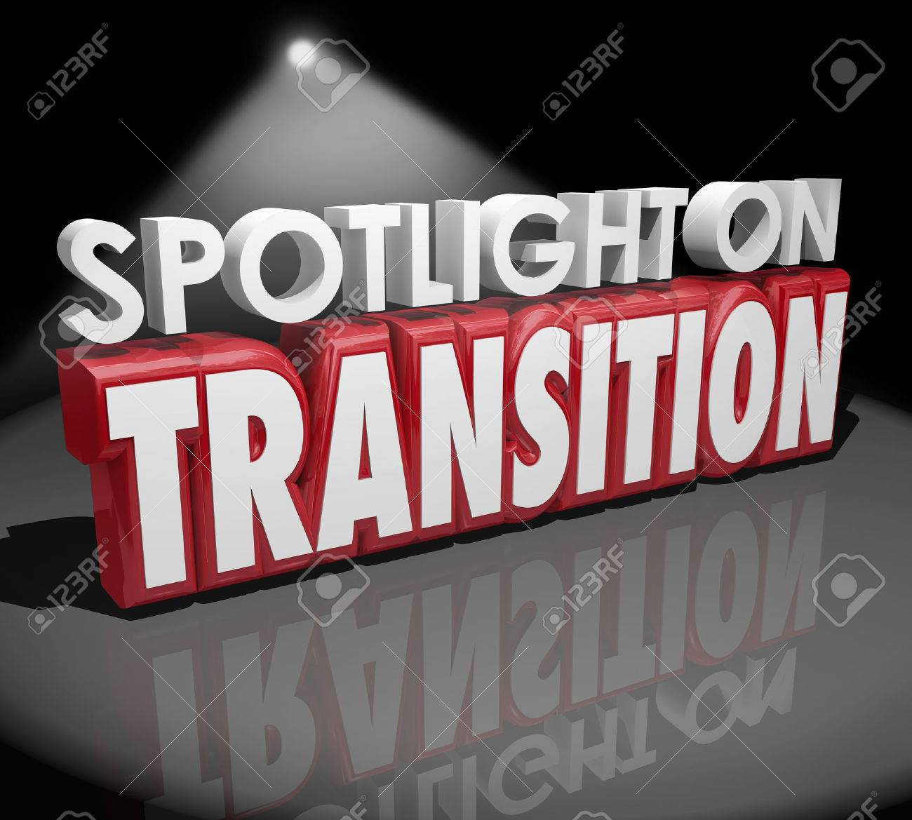 Spotlight on Transition words in 3d letters to illustrate change or different transformation - 41725898