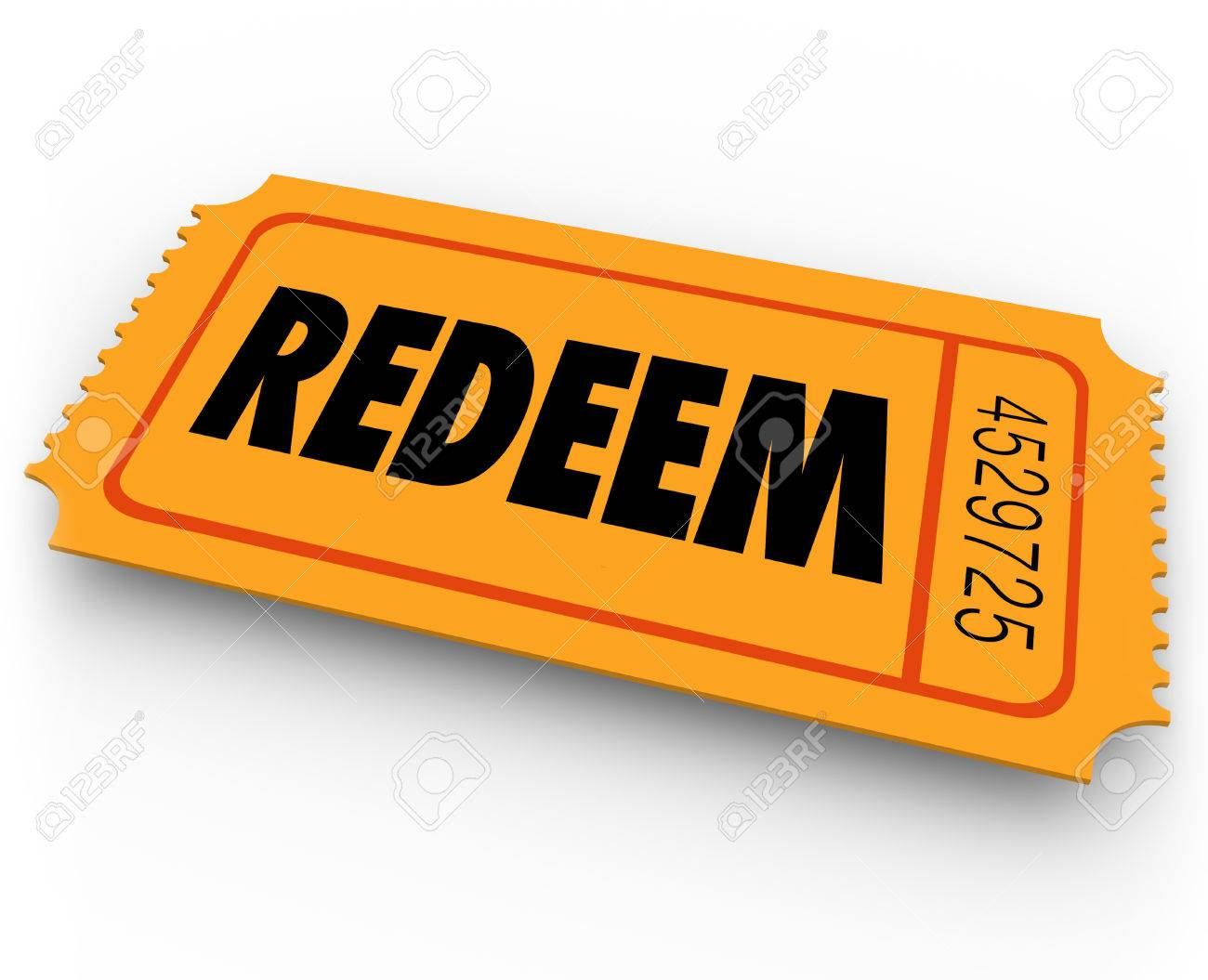 redeem word on an orange ticket to illustrate special offer redeem word on an orange ticket to illustrate special offer redemption or contest winning entry stock