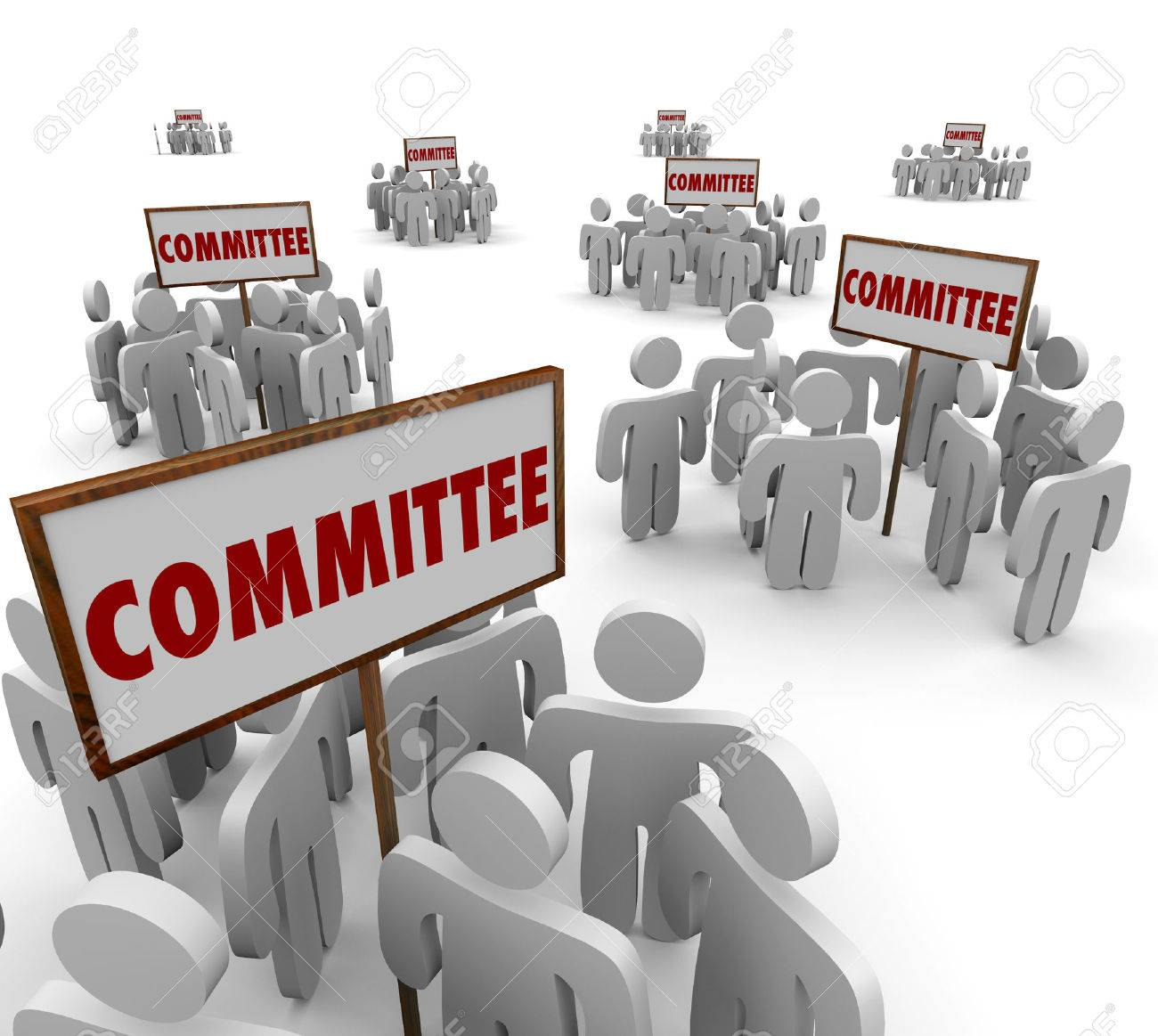 committee signs and people working together on teams or task stock