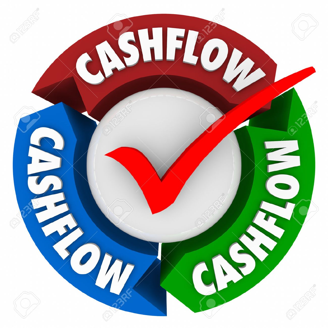 Cashflow Word On Arrows And Check Mark To Earn Money Or Add An Income Or  Revenue